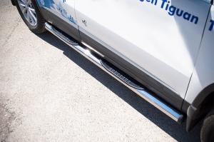 VolksWagen Tiguan Sport and Style пороги труба d76 с накладками (вариант 2) VGT-0009922